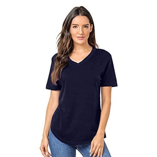 IHEHUA Túnica para mujer, verano, manga corta, informal, parte superior sólida, cuello en V, camiseta holgada, sexy, camiseta salvaje de un solo color marine L