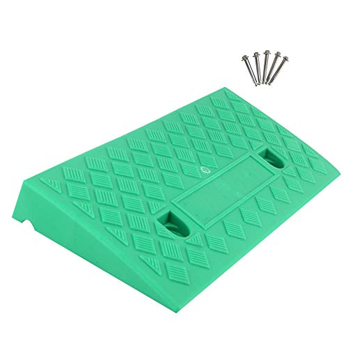 Baiying Rubber Ramps,Thick Plastic Threshold Ramp Car Non-Slip Pressure Resistance Can Carry Two Sets Holes Securely Installed Splicable,3 Colors, 6 Sizes (Color : Green, Size : 50X22X5CM)