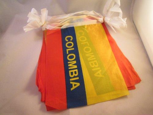 AZ FLAG Guirlande 6 mètres 20 Drapeaux Colombie avec Inscriptions 21x15 cm - Drapeau colombien 15 x 21 cm