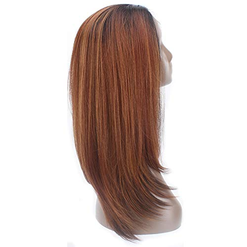 Synthetic Lace Front Wigs Brown Color Long Soft Straight Wig Free Part 13x4 Lace Frontal Hairpiece,OP27,Lace Front,20inches