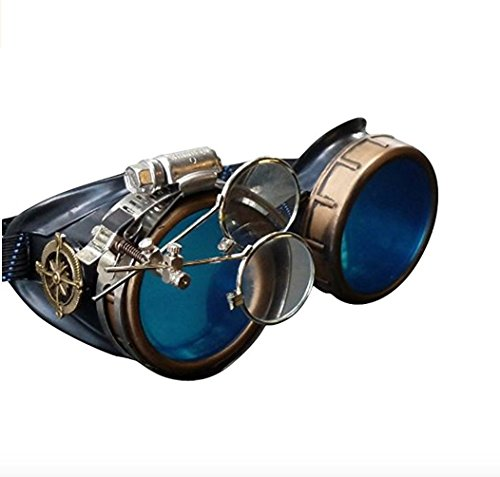 Steampunk Victorian Style Goggles with Compass Design, Azure Blue lenses & ocular...