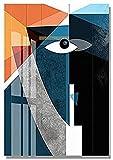 YHJK Cuadro en Lienzo Figura geométrica Abstracta Moderna Rostro Humano Cuadro de Arte de Pared Carteles escandinavos e Impresiones para Sala de Estar 30x50 cm sin Marco