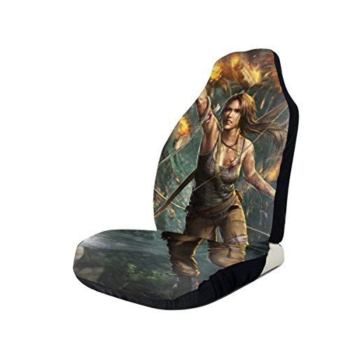 AOOEDM Tomb Raider Fundas de asiento de coche Accesorios Set Super Soft Vehículo Decoración Protector Bolsa 2 Piezas Set