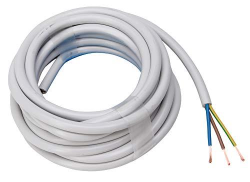 Kopp Cable de manguera de 3 hilos, H05 VV-F 3 G, 1,5 mm² (5 m) para instalación flexible, 300 V/500 V, cable de alimentación para uso medio, color gris, 158405845