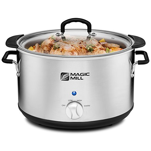 Magic Mill 10 Quart Slow Cooker 3 Manual Heat Settings Removable Pot, Stainless Steel (Stanless steel)