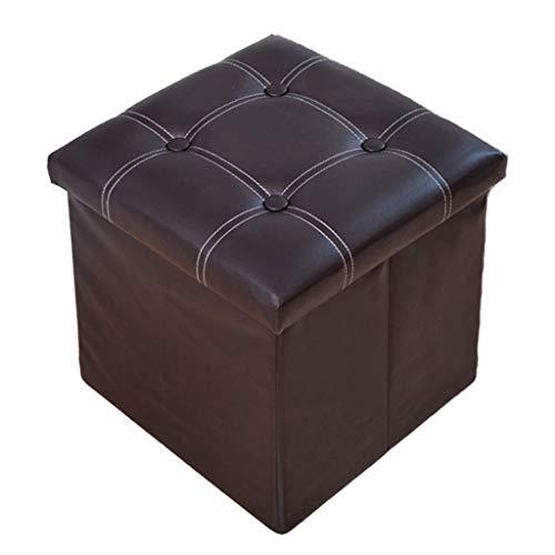 Wddwarmhome Boîte de Rangement pour Tabouret de Rangement Pliable en Pouf en PVC - Capacité de Charge maximale de 150 kg - Facile à Nettoyer (Couleur : Marron foncé)