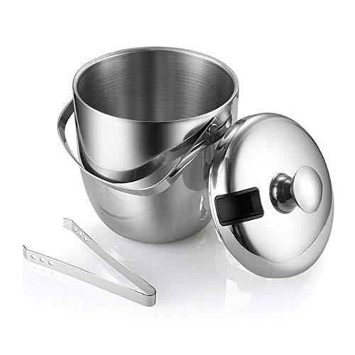 MINGMIN-DZ Durable 1,3L / 3L Cubo de Hielo de Acero Inoxidable Cubo de Doble Pared portátil con cucharón Aislado con Tapa de Vino Barril Champagne Refrigerador (Color : Style9)