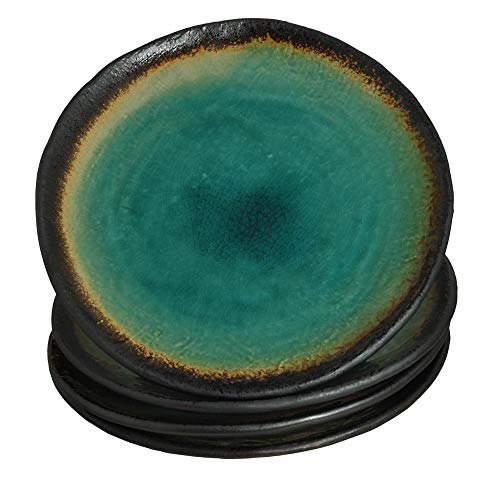Japanese Turquoise Green Kosui 'OBLATE SHAPE' Salad Plate, 6.77 Inches (D) x 1.30 Inches (H), Sold as 4 Plates