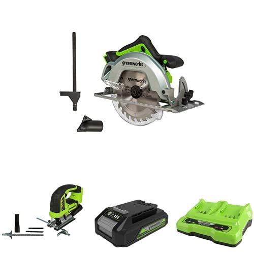 Greenworks Tools 1500907 Sierra Circular, 24 V + Sierra de calar sin Cable GD24JS + Batería G24B2 2ª generación + Batería de doble ranura Cargador universal G24X2C
