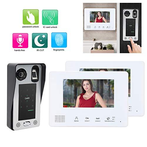 Sistema de videoportero, Monitor de Seguridad para el hogar Sistema de 2 Cables 7 en 2 monitores Intercomunicador Manos Libres Timbre de Video para Oficina para el hogar