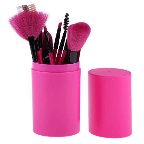 JINHUA Travel Makeup Brush Sets - 12 Pcs Makeup Brushes for Foundation Eyeshadow Eyebrow Eyeliner Blush Powder Concealer Contour Professional Makeup Artist Tool Kit (Red) (Color : Red)