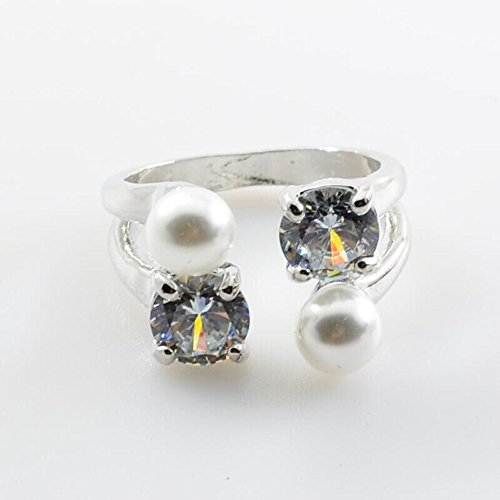 Xjp Adjustable Engagement Rings for Women Diamond and Pearl Rings Promise Eternity (Silver,B)