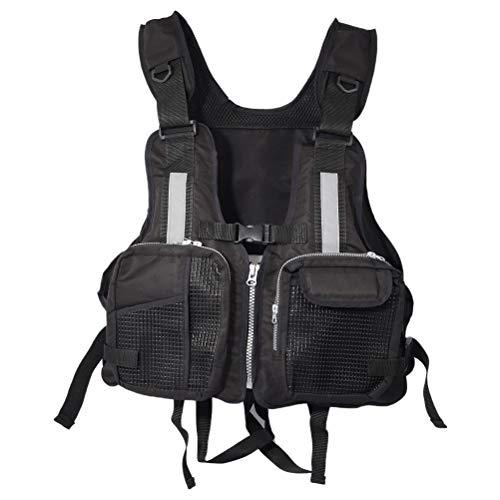 Chaleco salvavidas para adultos, chaleco salvavidas para adultos, ajustable, para pesca, canoa, kayak, bote, bote, chaqueta de ayuda para la flotabilidad, con múltiples bolsillos (negro)