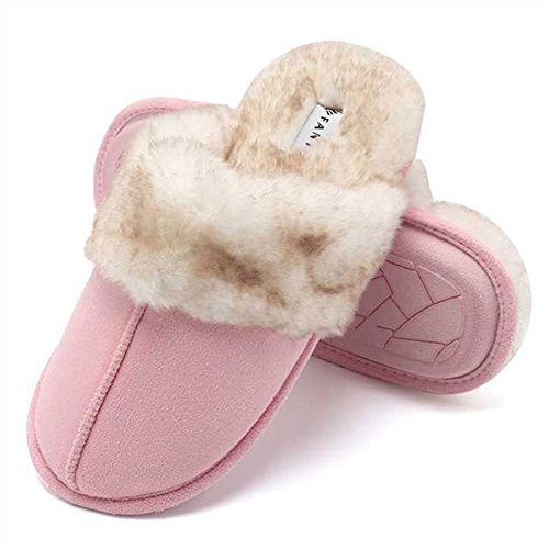 CIOR Fantiny Women's Memory Foam Slippers Faux Fur Lining Slip-on Clog Scuff House Shoes Indoor & Outdoor-U118WMT010-21-pink-F-40.41