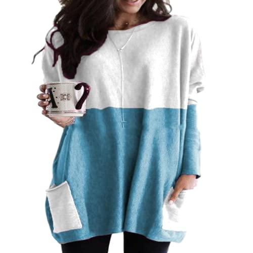 Mujer Tallas Grandes Casual Patchwork Color Cuello Redondo Manga Larga Camiseta Pullover Blusa con Bolsillo Mid-Length Moda Blusa Suelta Pullover Shirt 4XL