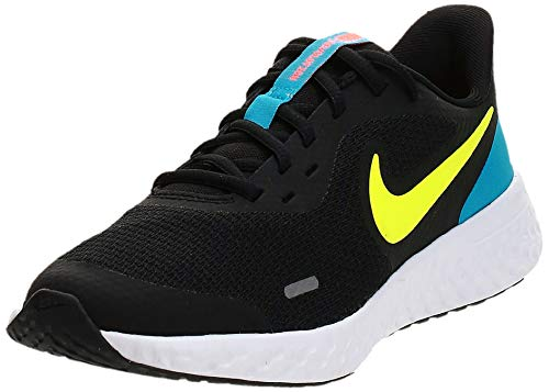 Nike Unisex-Kid's Revolution 5 Grade School Running Shoe, Black/Lemon Venom-Laser Blue-Hyper Crimson-White, 4Y Regular US Big Kid
