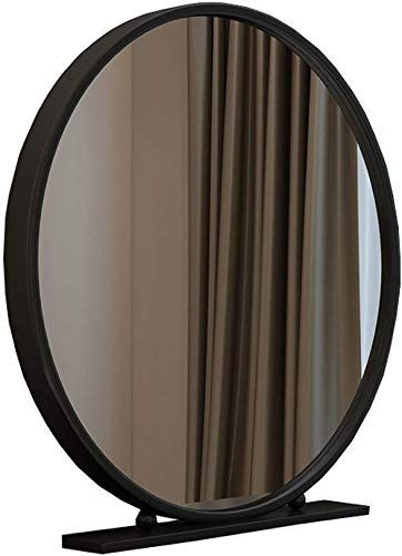 JKCKHA Nordic Hierro Forjado de una Sola Cara Espejo Redondo de Escritorio Dormitorio Escritorio de Vestir Princesa de Belleza Espejo (Color: Negro, tamaño: 40 cm)