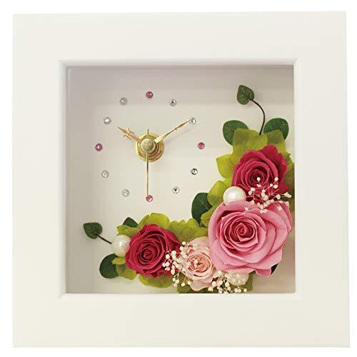 プリザーブドフラワー IPFA フレーム 時計 [フラワー時計 ギフト] 花/バラ/誕生日プレゼント/退職祝い/女性/記念日/母の日 (ピンク×ピンク)