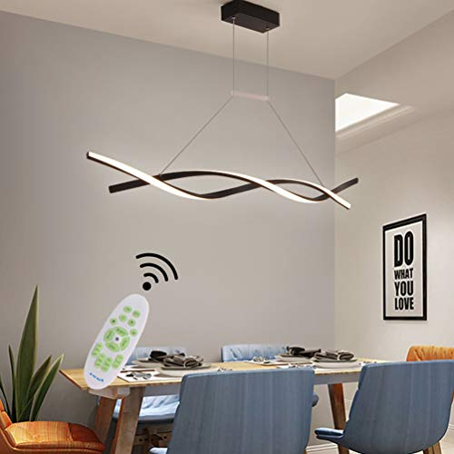 LED Pendelleuchte Dimmbar Wohnzimmer Lampe Deckenleuchte Modern mit Fernbedienung Design Hängelampe/Pendellampe Metall Acryl Höhenverstellbar Hängeleuchte Esszimmers Küche Büro Leuchte (Schwarz)