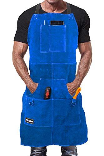 WELDINN Mandil de Soldador Premium de Cuero Protector para Hombre. Delantal de Herrero Termico Ignifugo para Soldadura en Taller con 6 Bolsillos para Herramientas (Azul)