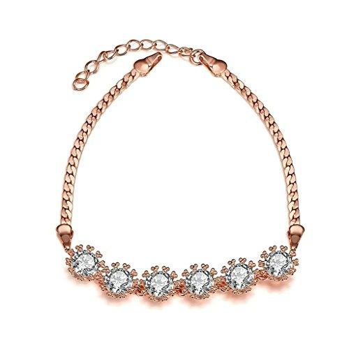 Bishilin Kupfer Rose Gold Farbe Palma Easy-Hook Armbund mit Kristall Für Damen