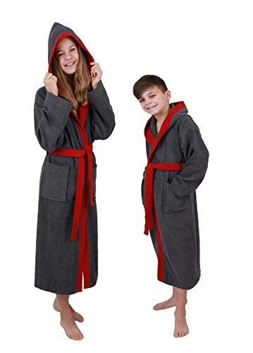 Betz Kinderbademantel mit Kapuze LONDON 100% Baumwolle Kinder Bademantel 2-farbig Größe 176 - anthrazit-rot