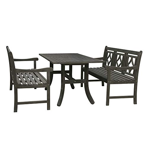 Vifah V1300SET20 Renaissance Outdoor 3-Piece Wood Patio Curvy Legs Table Dining Set, Hand-Scraped Hardwood