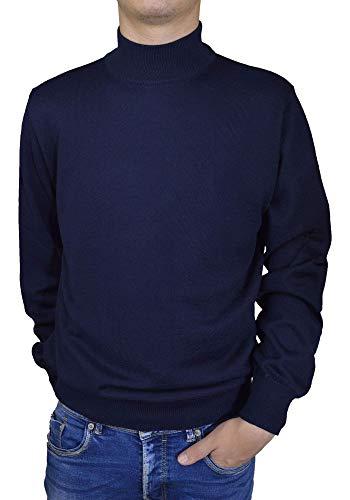 Iacobellis Maglione Uomo Pullover Lupetto Misto Lana Merinos Extrafine Made in Italy M Blu