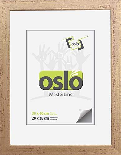 OSLO MasterLine Bilderrahmen 30 x 40 Gold Holz, Echt-Glas für Portraitfotos - Meisterbriefe - Foto-Rahmen Holzrahmen