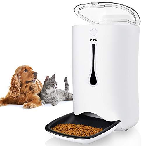 PUPPY KITTY Automatischer Futterautomat für Katze und Hund, 7L Futterspender Trockenfutter Mit Timer, LCD Programmierbarer Bildschirm und Ton-Aufnahmefunktion, Bis zu 4 Mahlzeiten am Tag.