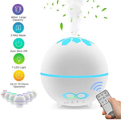 EROYAL 400ml Ambientador Humidificador,Difusor de Aceites Esenciales,Humidificador Aromaterapia con Silencioso,7 Colores de LED,Apagado automático,Control Remoto,para Bebés,Casa,Oficina, Yoga,SPA