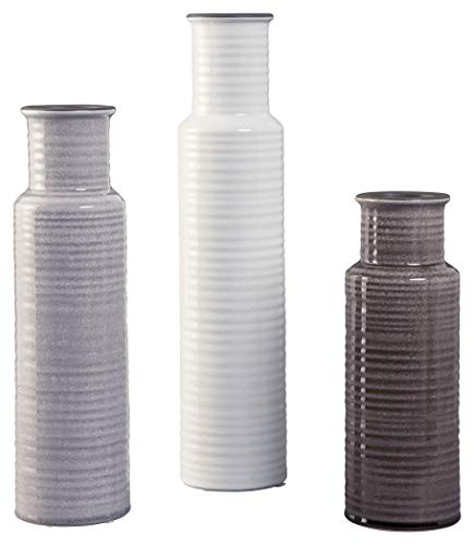 Ashley Furniture Signature Design - Deus Vase - Set of 3 - Casual - Glazed Ceramic - Gray/White/Brown