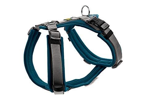 HUNTER Maldon Hundegeschirr,Y-Form, weich gepolstert, ideal für sportliche Aktivitäten Farbe Petrol/grau, Größe L