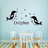 wukongsun New Dolphin Family Wandaufkleber Wandbild Künstler Dekorieren Vinyl Wandaufkleber Tapete 45 cm X 97,5 cm