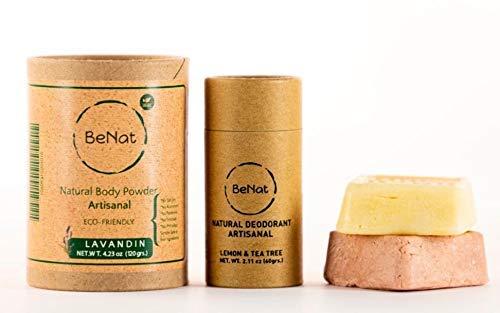 BeNat. Zero-Waste Ultimate 4-PACK Bundle. Zero-Waste Deodorant + Eco-Friendly Body Powder + Bergamot Shampoo Bar + Conditioner Bar