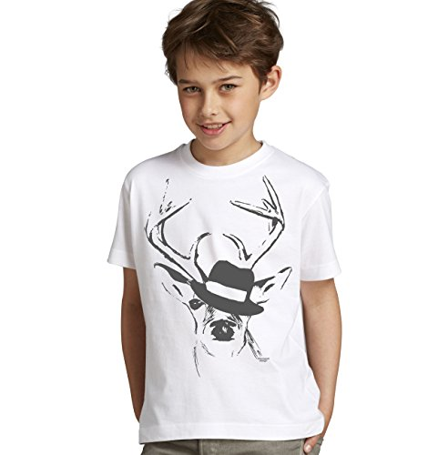 Kinderen T-shirt hert met hoed kinderen klederdracht design motief hert passend bij lederhose klederdracht shirt voor jongens Leibler Kids jongens