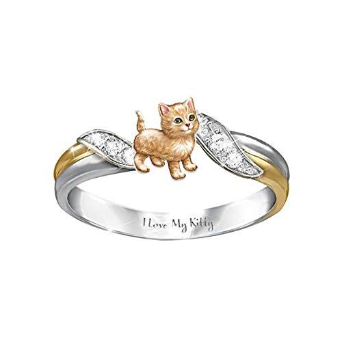 Benoon Fingerringe für Damen, modisch, Kätzchen, zweifarbig, Strass, Buchstaben, Gravur, Design Ring, Schmuck – Orange US 9