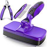 Ruff 'N Ruffus Self-Cleaning Slicker Brush Upgraded PAIN-FREE Bristles Gently Removes Loose Undercoat & Tangled Hair | For Cats & Dogs With All Hair Types + FREE Pet Nail Clippers & Plastic Comb