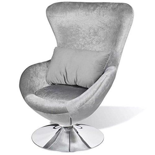 Tidyard Poltrona Salotto Ovale Girevole con Cuscino,Moderno Design a Uovo Argento 64 x 64 x 86 cm (L x P x A)