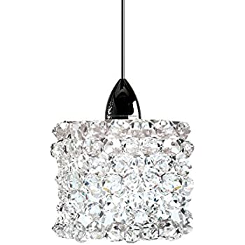 WAC Lighting QP-LED539-WD//BN Mini Haven Quick Connect LED Pendant White Diamond Shade with Brushed Nickel Socket Set