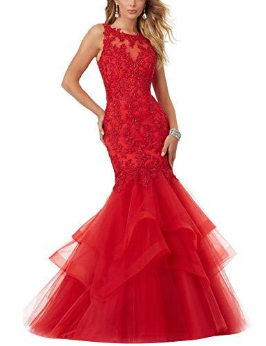 HUINI Abendkleider Vintag Meerjungfrau Brautkleider Spitzen Prinzessin Ballkleider Hochzeitskleider Standesamtkleid Rot 38