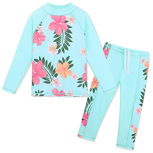 TFJH E Swimsuits for Girls Long Sleeve 2-Piece Rashguard Sunsuits Cyan Flower 4A
