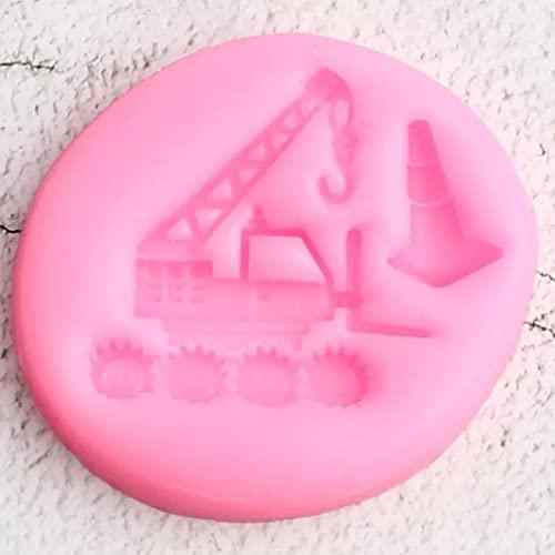 QWEDFG Vehículo de ingeniería Molde de Silicona Bandeja de Pastel de cumpleaños Pastel Fondant decoración de Pastel Molde de azúcar