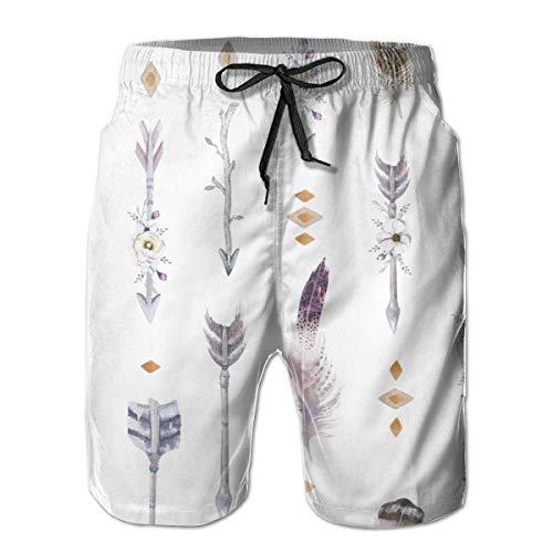 akingstore Bañador para Hombre Shorts de baño de Playa de Secado rápido Flechas y Plumas Tipi L