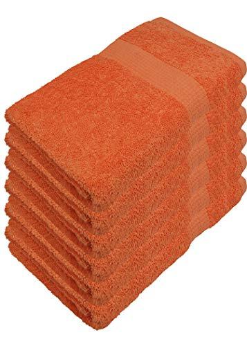Miamar 6 er Set Handtuch 50 x 100 cm weich saugstark in 15 Farben erhätlich 500g/m² 100% Baumwolle Öko-Tex Orange