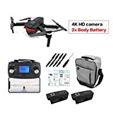 Garciaria X46G Foldable RC Drone Brushless Motor Drone WiFi FPV Helicopter Aircraft with 4K HD Camera and Lithium Battery(Color:Black) 2*Batteries