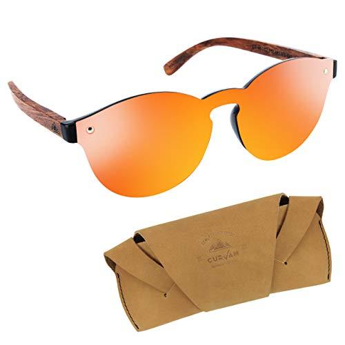 CURVAN - Gafas de Sol Polarizadas Mujer Hombre Unisex | Estilo Futurista Sin Marco Redondas | 100% Protección UV400 | Patillas Madera Natural Ecológica | Lente Espejo Antideslumbramiento (Red)