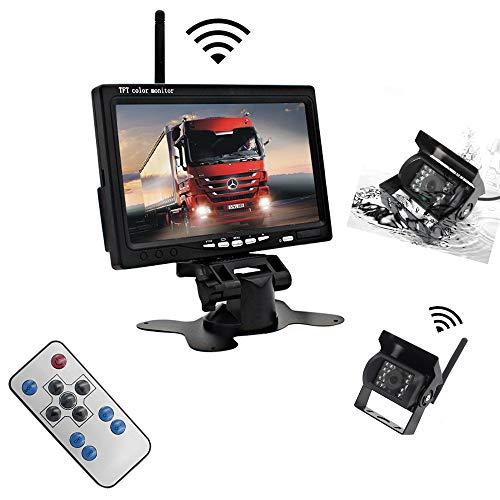 Mengen88 12V-24V Fahrzeugparkkamera-Monitor-System, 7 Zoll-Auto-Monitor mit 2 wasserdichtem IR-Nachtsicht-vorderem Rückfahrkamera-Zusatz-LKW-System