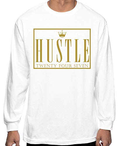 CaliDesign Men's White Hustle Long Sleeve T Shirt Hustler Hard Crown Plug Trap, 2X - XXL - 2XL