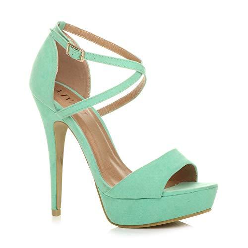 Donna tacco alto fibbia cinturini incrociati scarpe punta aperta sandali taglia 5 38